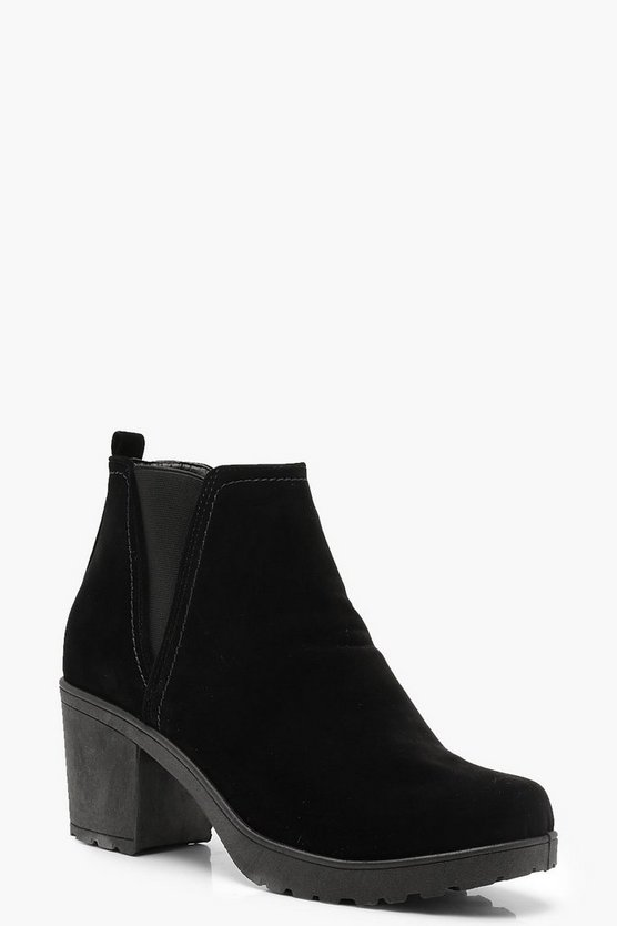 Chunky Cleated V Detail Suedette Chelsea Boots
