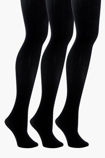 Womens Black 60 Denier 3 Pack Microfibre Tights