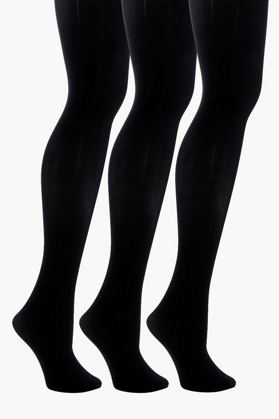 Womens Black 40 Denier 3 Pack Microfibre Tights