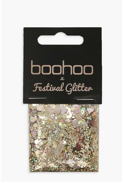 Womens Boohoo Rose Gold Glitter Bag