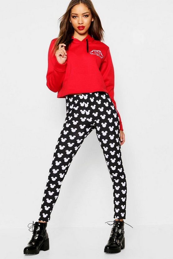 Womens Black Disney Mickey Repeat Leggings