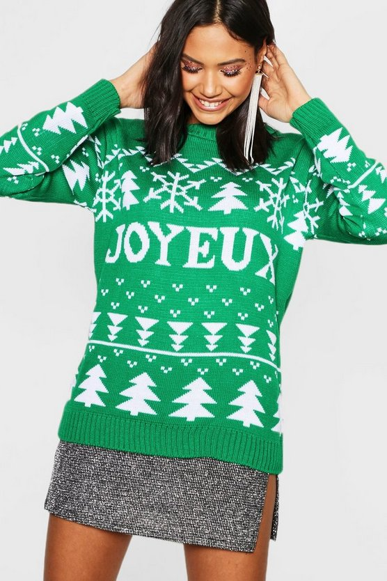 Green Joyeux Christmas Jumper