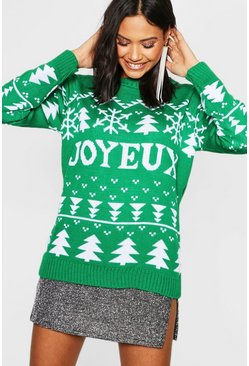 Womens Green Joyeux Christmas Jumper