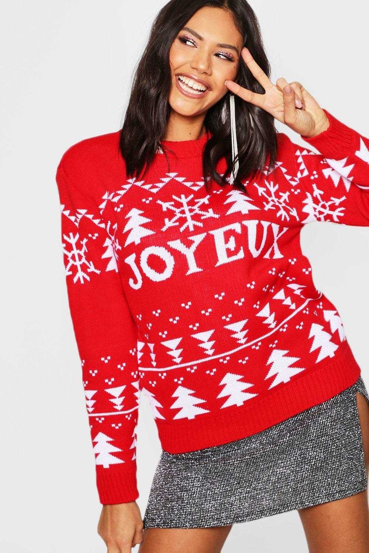 Christmas red Jumper Joyeux Christmas Joyeux Jumper wg4Bxq