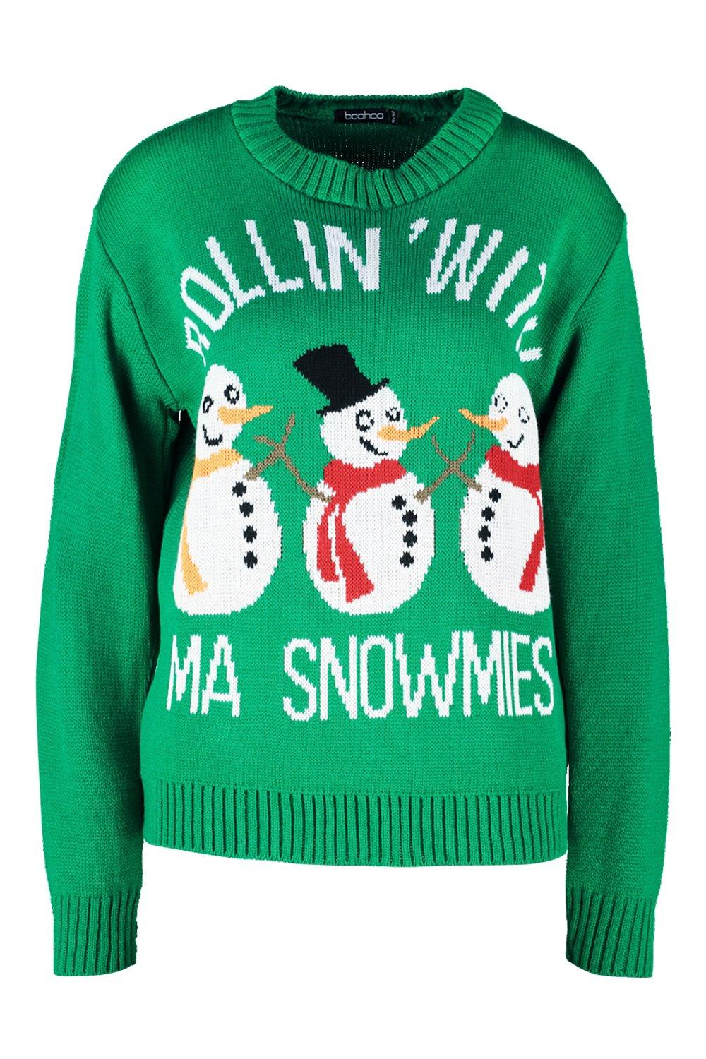 Christmas With My Rollin Snowmies Jumper green qYzxw0t