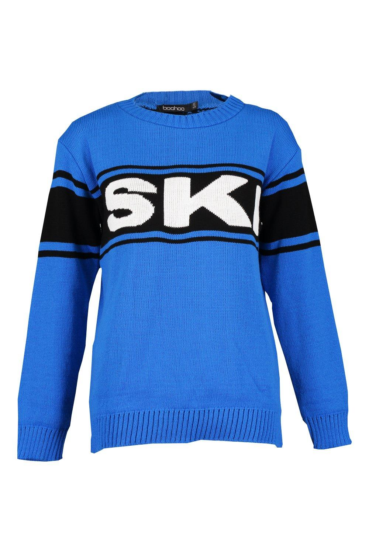 Jumper blue Ski Slogan Christmas Slogan Ski qpwHwvIa