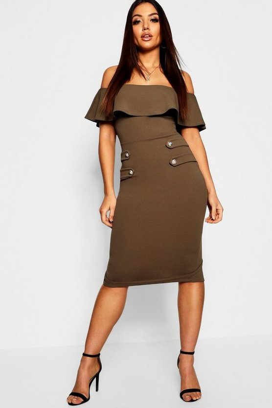 Off The Shoulder Button Detail Midi Dress