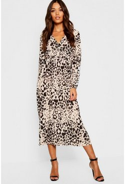 Womens Brown Leopard Print Long Sleeved Bodycon Midi Dress