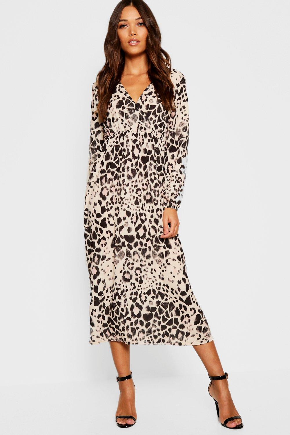 456f5a856f5b Womens Brown Leopard Print Long Sleeved Bodycon Midi Dress. Hover to zoom