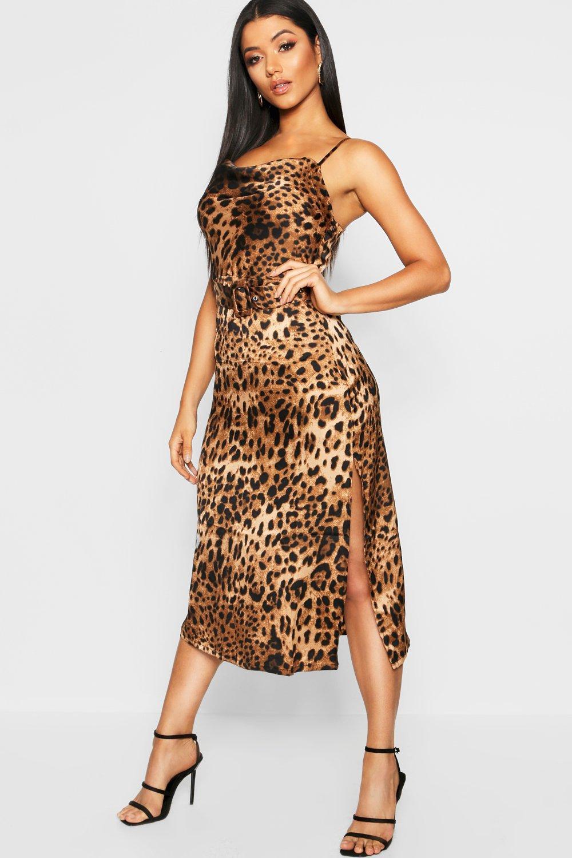 bbfe9b011d70 Womens Brown Strappy Leopard Print Tie Waist Midi Slip Dress. Hover to zoom