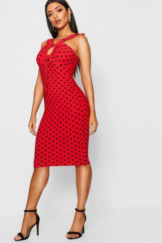 Polka Dot Frill Detail Midi Dress