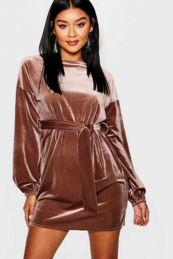 Velvet Blouson Sleeve Belted Mini Dress