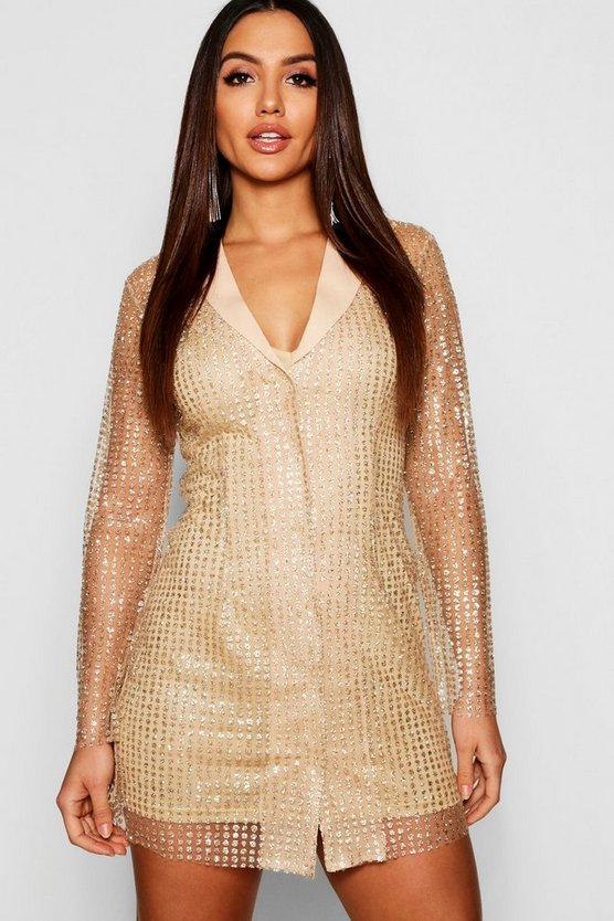 Womens Gold Sequin Blazer Dress