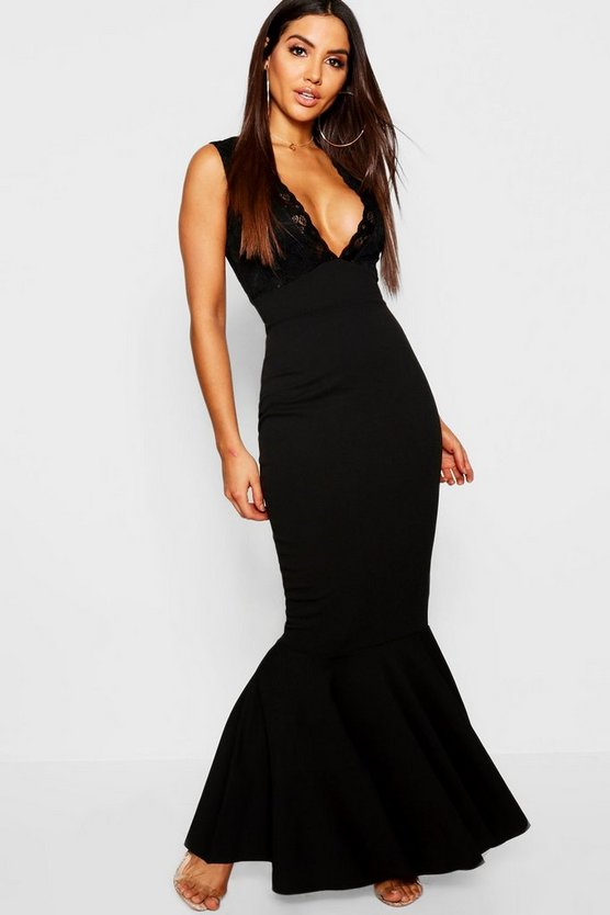 Womens Black Lace Top Crepe Fish Tail Maxi Dress