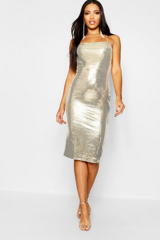 Womens Gold Sequin Square Neck Strappy Back Midi Dress