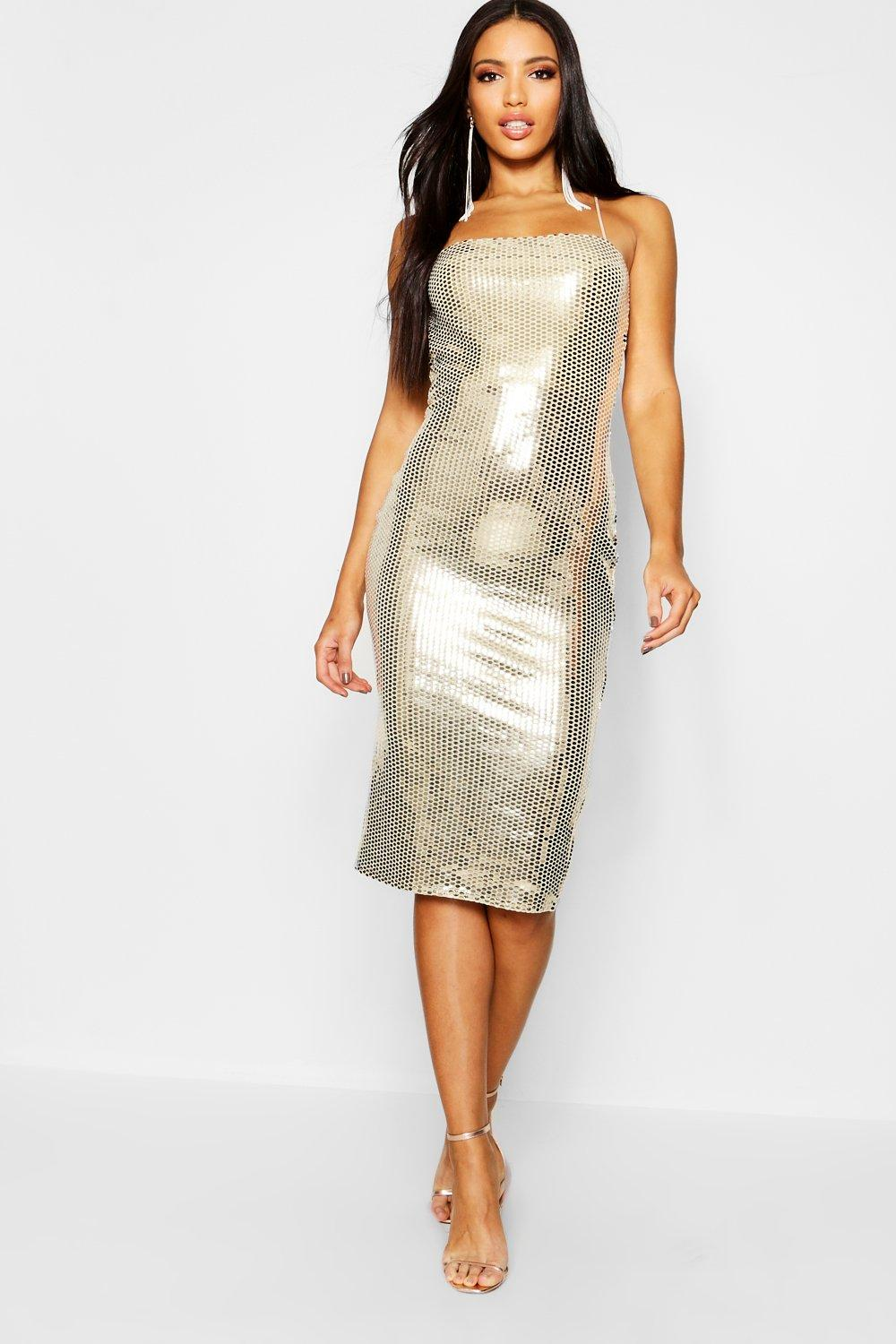 1dde015ac215 Womens Gold Sequin Square Neck Strappy Back Midi Dress. Hover to zoom
