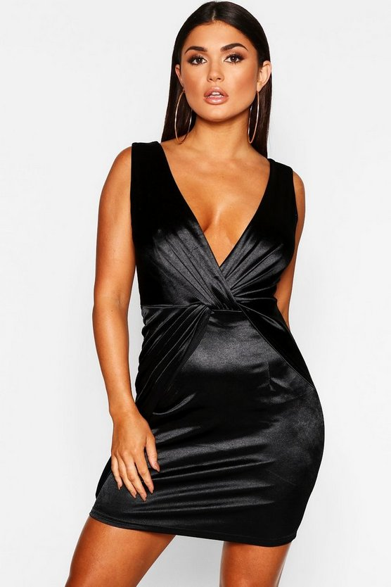 Twist Front Stretch Satin Bodycon Dress