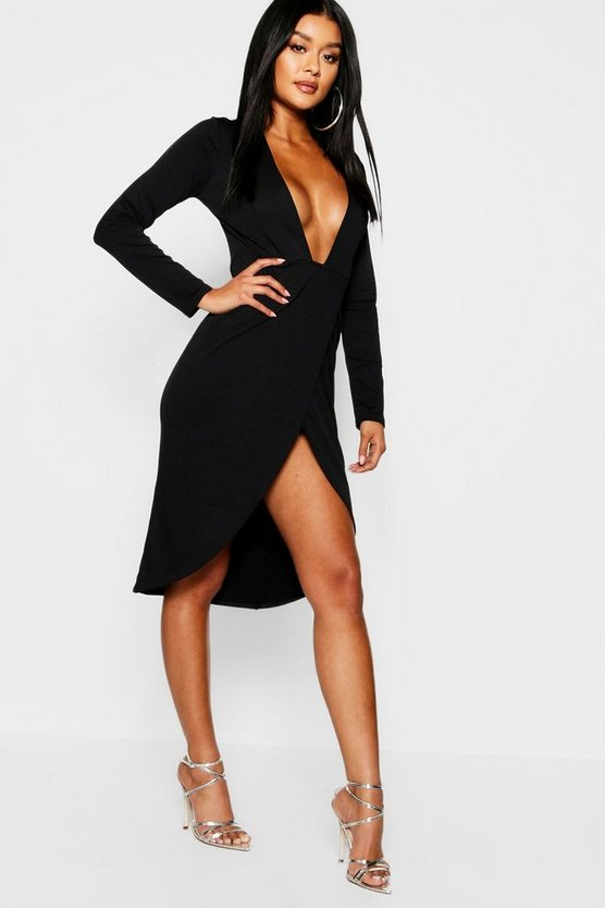Womens Black Plunge Front Thigh Split Midi Dress