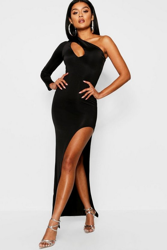 Slash Detail Slinky One Shoulder Maxi Dress
