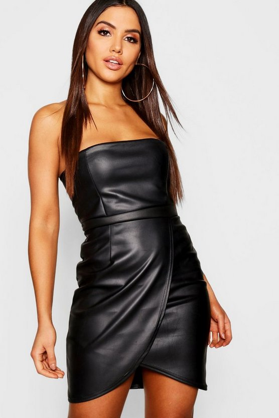 PU Bandeau Wrap Mini Dress