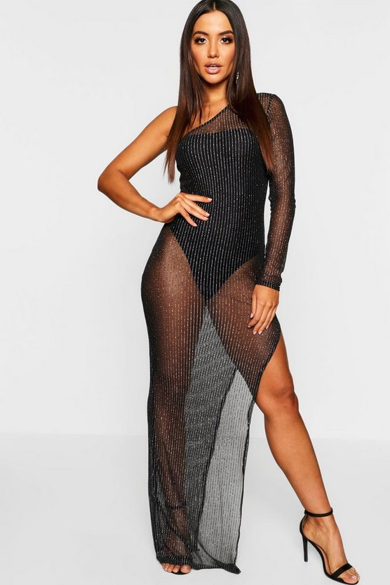 Womens Black One Shoulder Metallic Mesh Bodysuit Maxi Dress