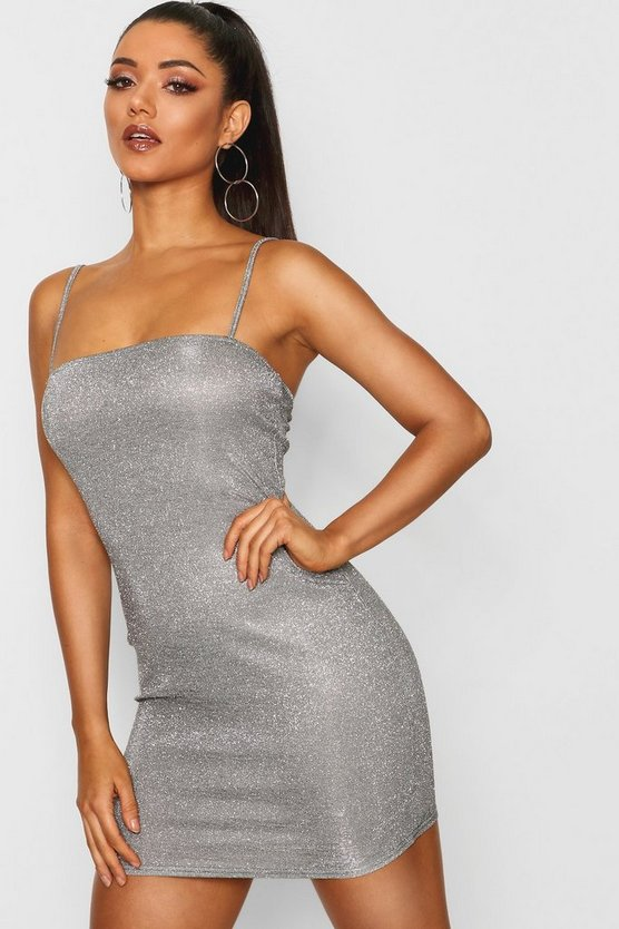 Silver Metallic Glitter Square Neck Strappy Dress