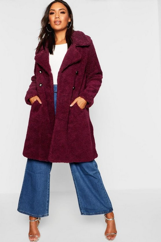 Manteau teddy élégant en fourrure à double patte de boutonnage, Fruits rouges, Femme