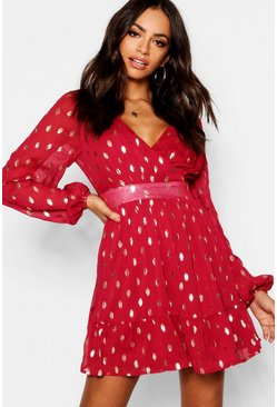 Womens Berry Wrap Front Metallic Polka Dot Skater Dress