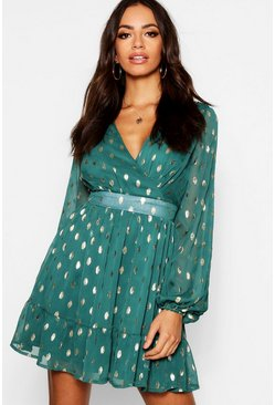 Womens Bottle green Wrap Front Metallic Polka Dot Skater Dress
