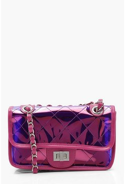 Womens Pink Quilted Cross Body