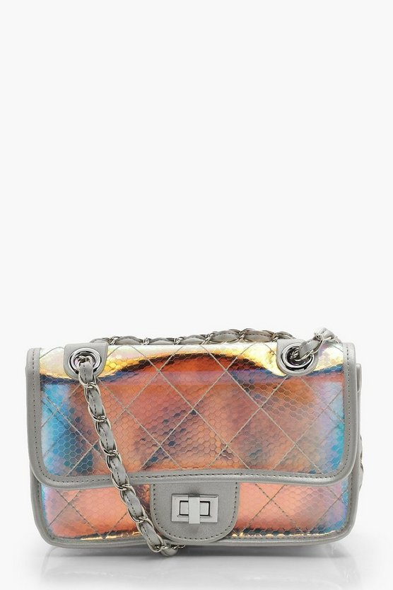 Womens Silver Holographic Clear Quilt Cross Body