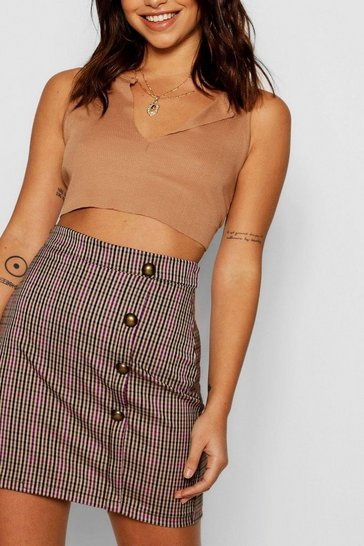 Womens Purple Check Button Detail Skirt