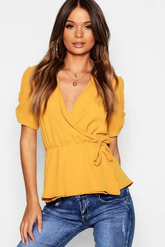 Woven Wrap Front Top