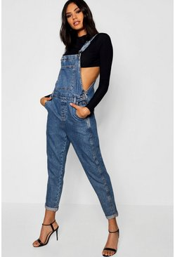 Womens Mid blue Denim Dungarees