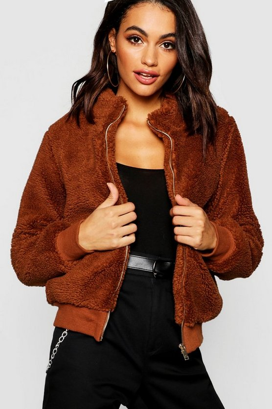 Teddy Faux Fur Crop Jacket
