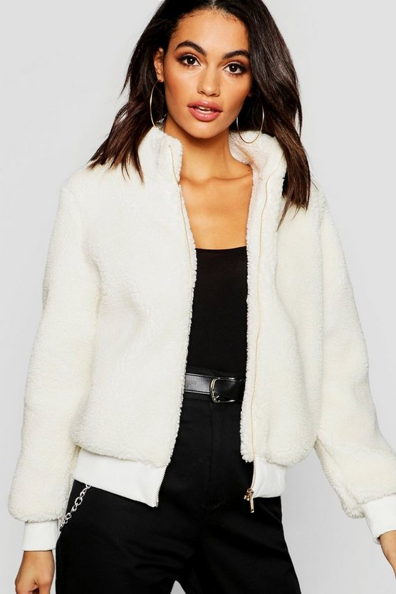Womens Cream Teddy Faux Fur Crop Jacket