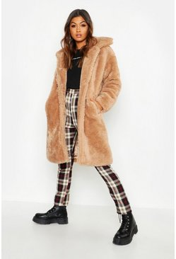 Camel Premium Oversized Teddy Faux Fur Coat