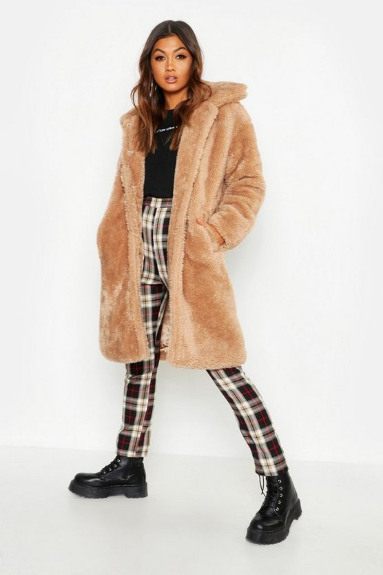 Womens Camel Premium Oversized Teddy Faux Fur Coat