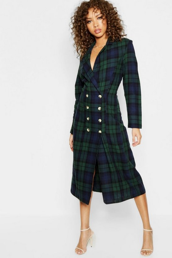 Womens Green Longline Checked Mock Horn Button Blazer Dress