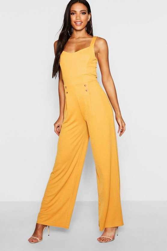 Button Detail Wide Leg Jumpsuit