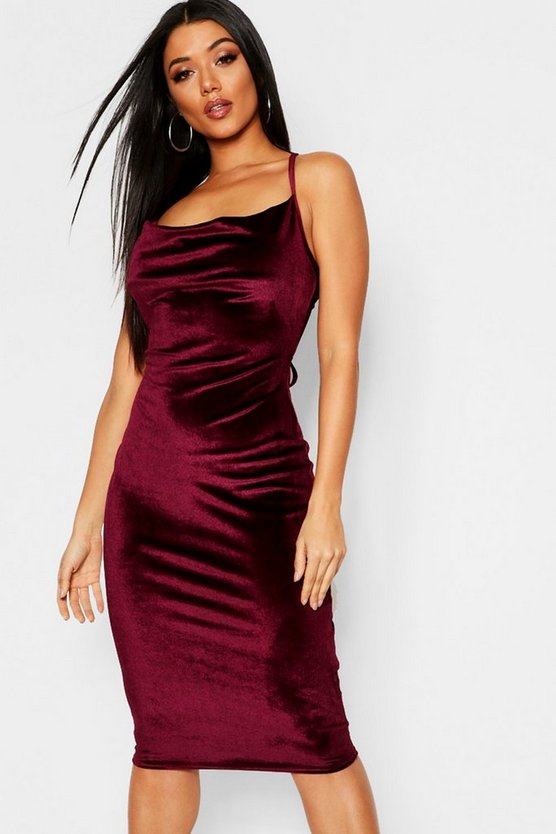 Velvet Strappy Cowl Midi Dress