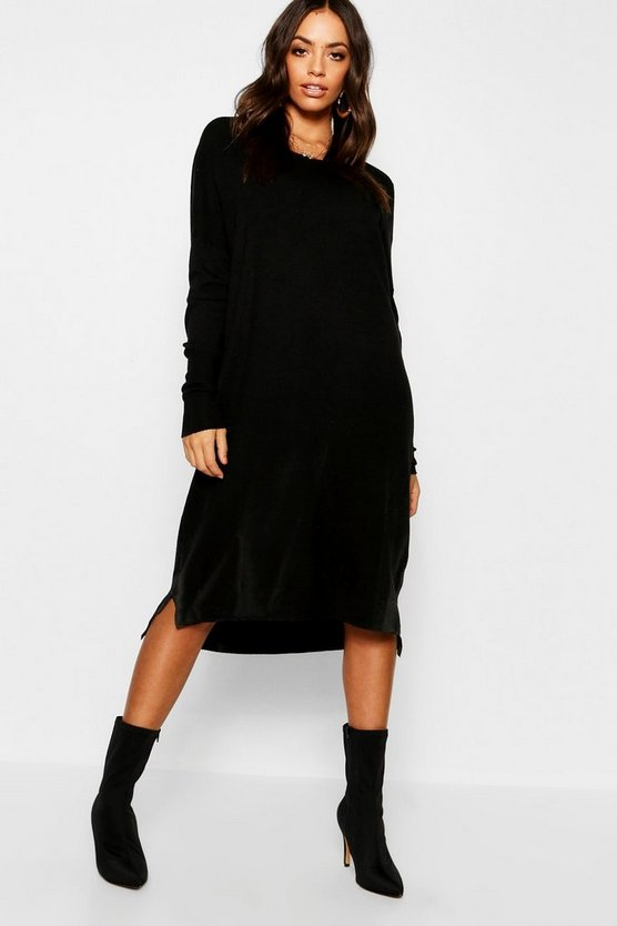 Womens Black Round Neck Knitted Dress