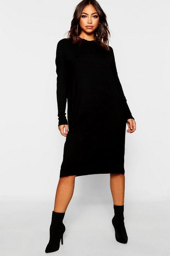 Womens Black Crew Neck Knitted Dress