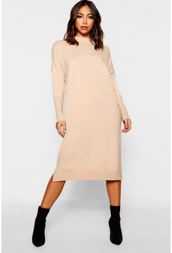 Womens Taupe Crew Neck Knitted Dress
