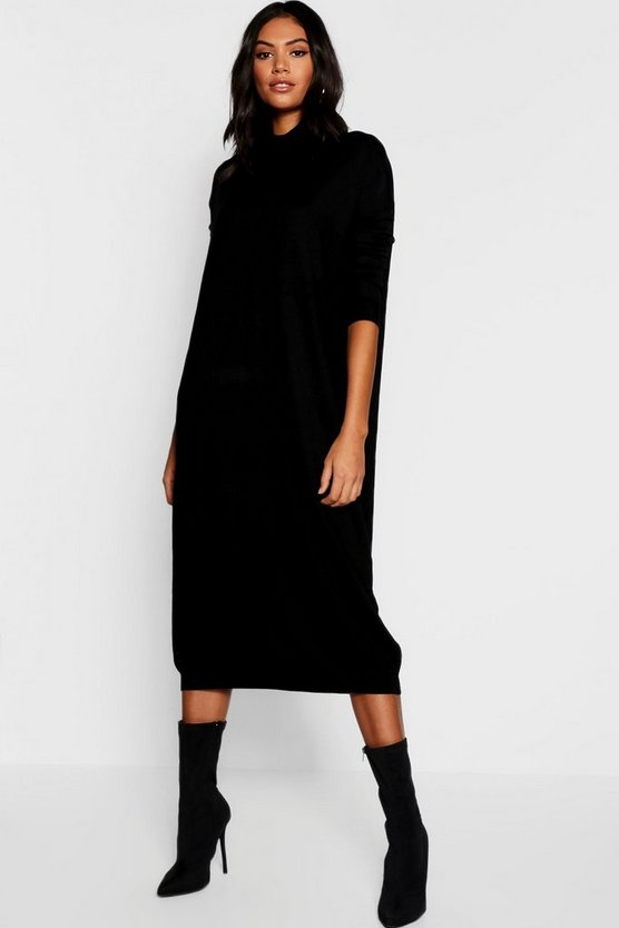 Womens Black Roll Neck Knitted Dress