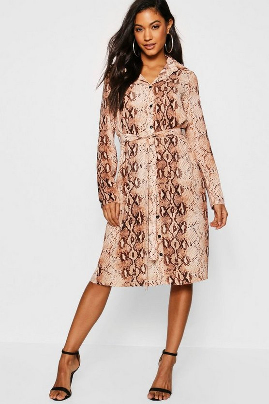 Womens Brown Snake Print Woven Belted Shirt Dress