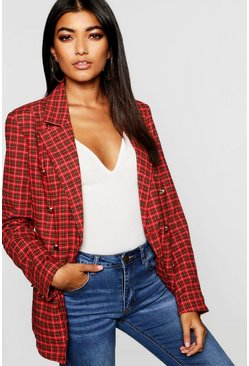 Womens Red Double Breasted Gold Button Tartan Blazer