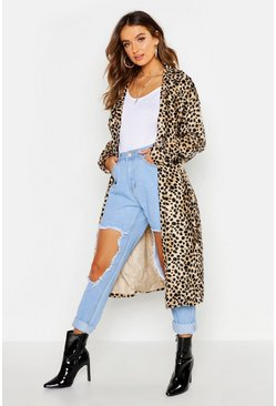 Womens Tan Faux Fur Leopard Trench Coat