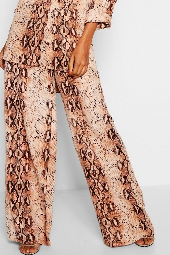 Snake Print Wide Leg Trousers