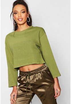 Womens Khaki Oversized Drop Arm Long Sleeve Top